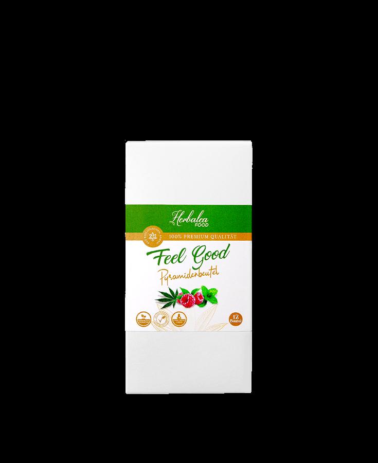 Herbalea Food Feel Good Tea Pyramidenbeutel Produktebild Cbuy.ch Alles Gute aus Cannabis Schweizer CBD Hanfblüten CBD Produkte CBD Öle Hanf-Lebensmittel Hanf Tee Wohlbefinden Schlafen Schmerzen Entspannung Natur SWISS Gate AG