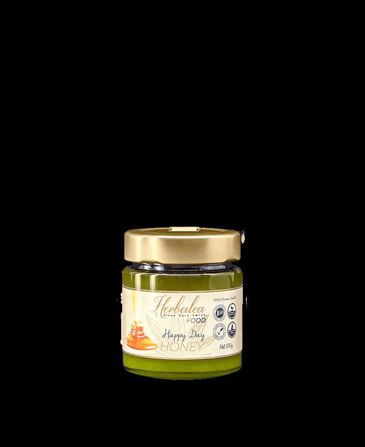Herbalea Food Happy Day Honey Produktebild Frühstück Aufstrich Brot Cbuy.ch Alles Gute aus Cannabis Schweizer CBD Hanfblüten CBD Produkte CBD Öle Hanf-Lebensmittel Hanf Honig Wohlbefinden Schlafen Schmerzen Entspannung Natur SWISS Gate AG