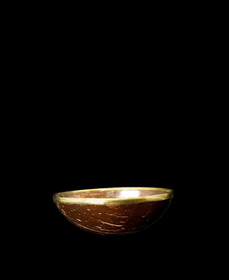 Old Donald's Schale Kokosnuss Produktebild rund goldiger Rand Behälter für Grinder Inhalt Cbuy.ch Alles Gute aus Cannabis Schweizer CBD Hanfblüten CBD Produkte CBD Öle Hanf-Lebensmittel Schlafen Schmerzen Entspannung Natur SWISS Gate AG